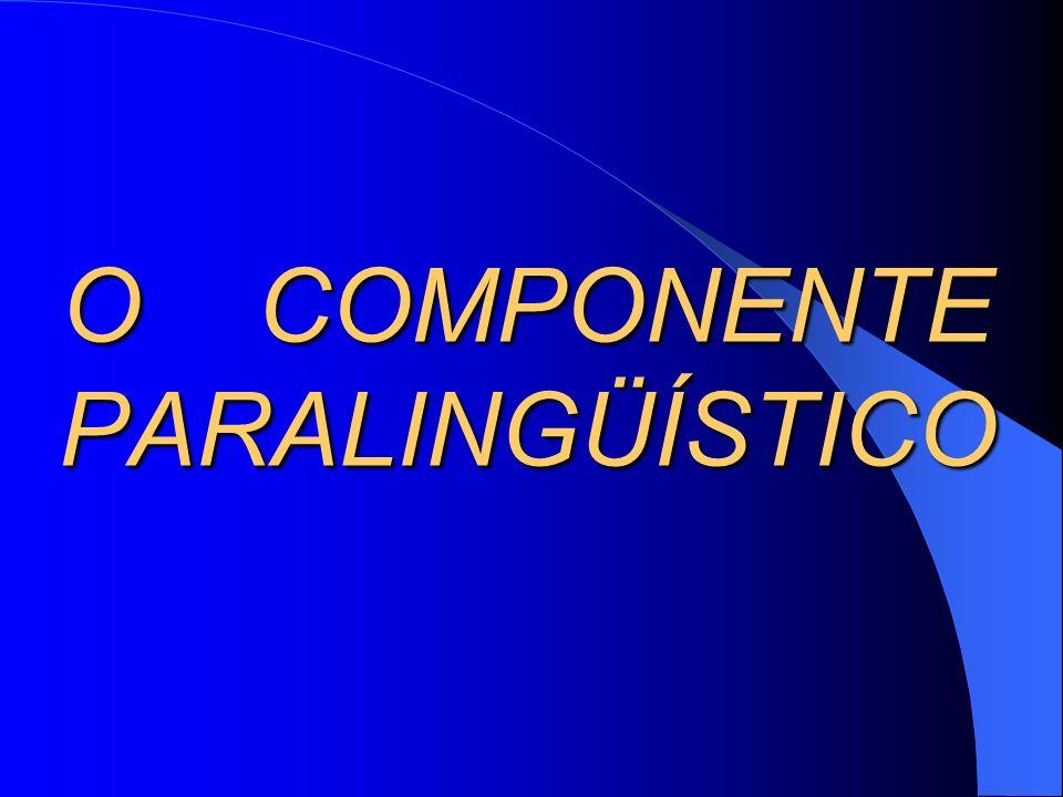 O COMPONENTE PARALINGÜÍSTICO