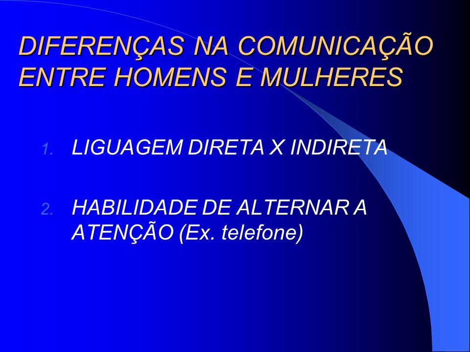 DIFERENÇAS NA COMUNICAÇÃO ENTRE HOMENS E MULHERES 1. LIGUAGEM DIRETA X INDIRETA 2. HABILIDADE DE ALTERNAR A ATENÇÃO (Ex. telefone)