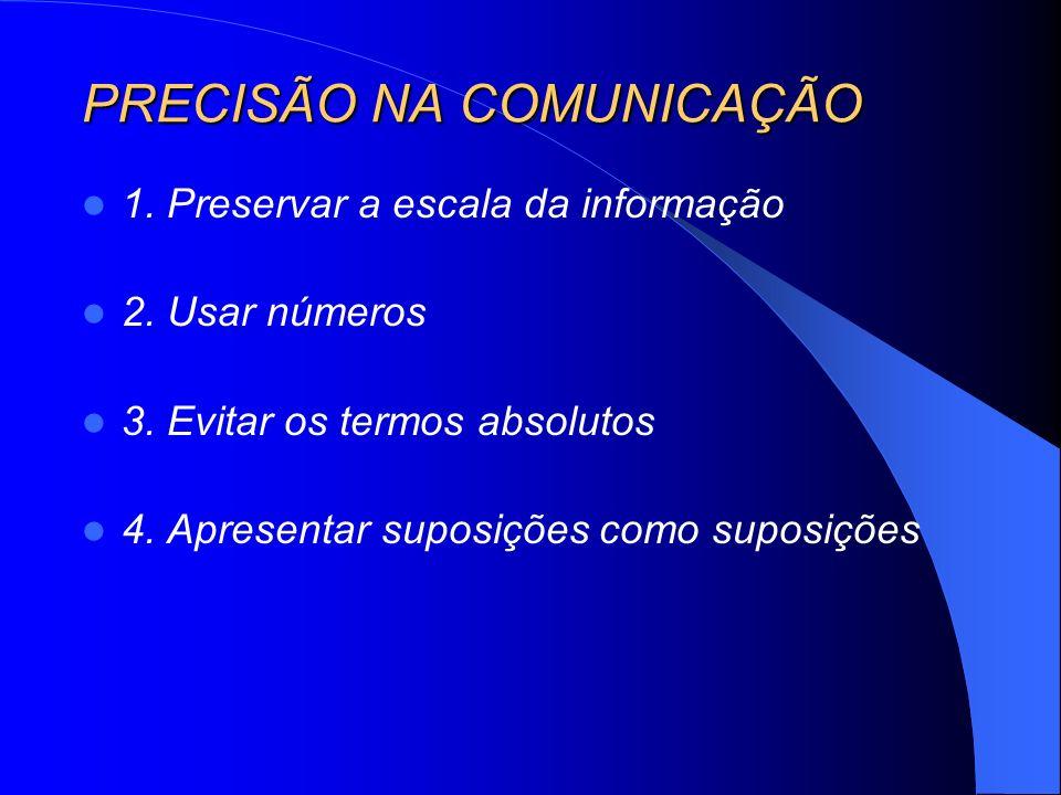 PRECISÃO NA COMUNICAÇÃO 1. Preservar a escala da informação 2. Usar números 3. Evitar os termos absolutos 4. Apresentar suposições como suposições