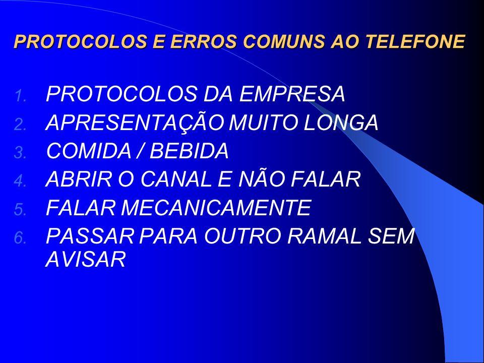 PROTOCOLOS E ERROS COMUNS AO TELEFONE 1. PROTOCOLOS DA EMPRESA 2. APRESENTAÇÃO MUITO LONGA 3. COMIDA / BEBIDA 4. ABRIR O CANAL E NÃO FALAR 5. FALAR ME