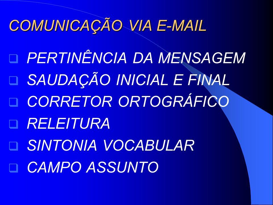 COMUNICAÇÃO VIA E-MAIL PERTINÊNCIA DA MENSAGEM SAUDAÇÃO INICIAL E FINAL CORRETOR ORTOGRÁFICO RELEITURA SINTONIA VOCABULAR CAMPO ASSUNTO