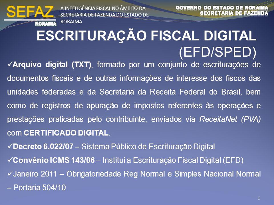A INTELIGÊNCIA FISCAL NO ÂMBITO DA SECRETARIA DE FAZENDA DO ESTADO DE RORAIMA ESCRITURAÇÃO FISCAL DIGITAL (EFD/SPED) Arquivo digital (TXT), formado po