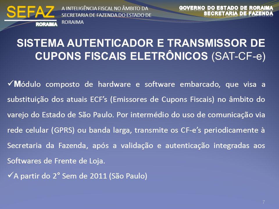 A INTELIGÊNCIA FISCAL NO ÂMBITO DA SECRETARIA DE FAZENDA DO ESTADO DE RORAIMA SISTEMA AUTENTICADOR E TRANSMISSOR DE CUPONS FISCAIS ELETRÔNICOS (SAT-CF