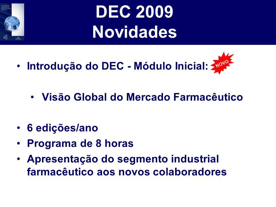 DEC 2009 Novidades Introdução do DEC - Módulo Inicial: Visão Global do Mercado Farmacêutico 6 edições/ano Programa de 8 horas Apresentação do segmento