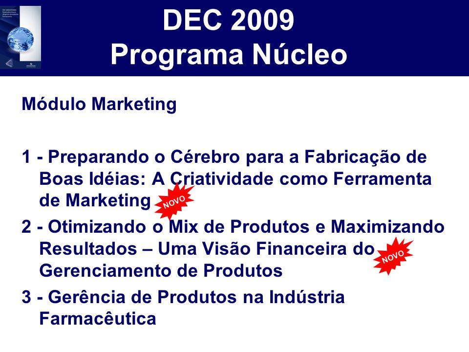 DEC 2009 Programa Núcleo Módulo Marketing 1 - Preparando o Cérebro para a Fabricação de Boas Idéias: A Criatividade como Ferramenta de Marketing 2 - O