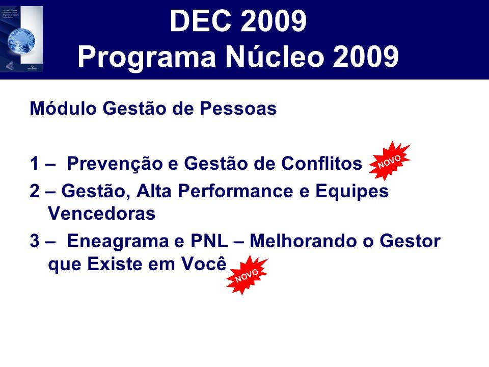 DEC 2009 Programa Núcleo 2009 Módulo Gestão de Pessoas 1 – Prevenção e Gestão de Conflitos 2 – Gestão, Alta Performance e Equipes Vencedoras 3 – Eneag