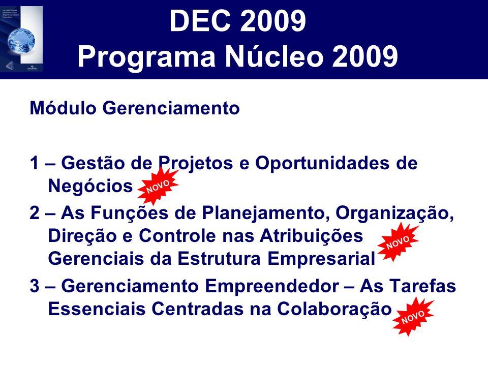 DEC 2009 Programa Núcleo 2009 Módulo Gerenciamento 1 – Gestão de Projetos e Oportunidades de Negócios 2 – As Funções de Planejamento, Organização, Dir