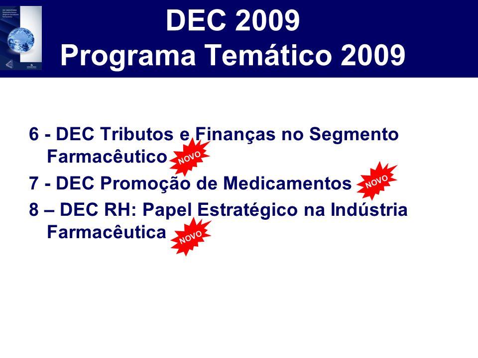 DEC 2009 Programa Temático 2009 6 - DEC Tributos e Finanças no Segmento Farmacêutico 7 - DEC Promoção de Medicamentos 8 – DEC RH: Papel Estratégico na