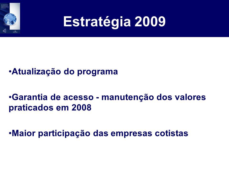 Contribuição das Cotas 2009 Cota Ouro 50 inscrições para encaminhamento de colaboradores a todas atividades do programa, com limite de 8 inscrições por programa.