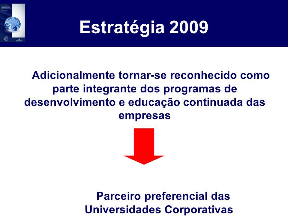 Estratégia 2009 Adicionalmente tornar-se reconhecido como parte integrante dos programas de desenvolvimento e educação continuada das empresas Parceir