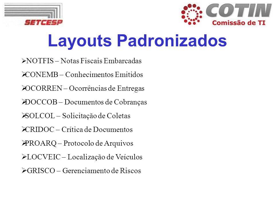 Layouts Padronizados NOTFIS – Notas Fiscais Embarcadas CONEMB – Conhecimentos Emitidos OCORREN – Ocorrências de Entregas DOCCOB – Documentos de Cobran