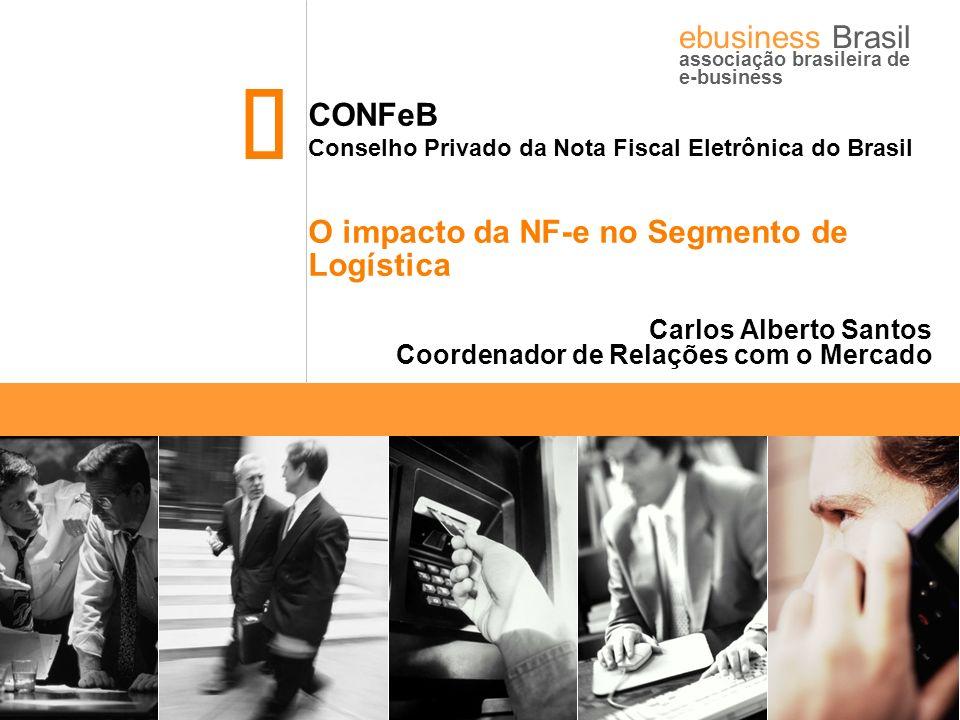 CONFeB – Conselho da Nota Fiscal Eletrônica do Brasil ebusiness Brasil associação brasileira de e-business Histórico Abr/2005 – Em acordo com a SRF o Encat assume a coordenação do Projeto NF-e, que passa a integrar o projeto SPED-Sistema Público de Escrituração Fiscal; Jul/2005 – Grupo Técnico do Encat unifica o conceito da NF-e e conclui projeto lógico do sistema; Dez/2005 – Celebrado Ajuste SINIEF 07/05; Mar/2006 – Oficializado início do piloto; Ago/2006 – Previsão para entrada de novas empresas ao processo.