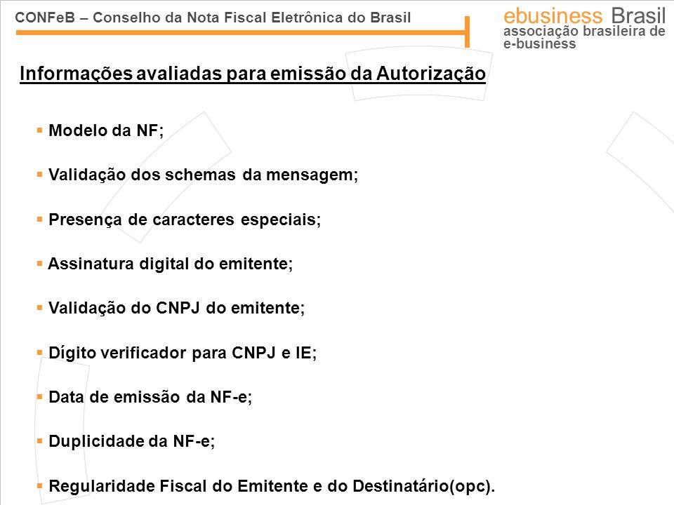 CONFeB – Conselho da Nota Fiscal Eletrônica do Brasil ebusiness Brasil associação brasileira de e-business Informações avaliadas para emissão da Autor