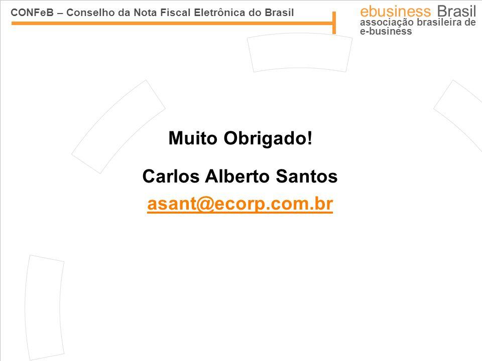 CONFeB – Conselho da Nota Fiscal Eletrônica do Brasil ebusiness Brasil associação brasileira de e-business Muito Obrigado! Carlos Alberto Santos asant