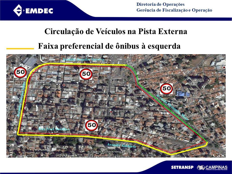 DGDDGD Diretoria de Operações Gerência de Fiscalização e Operação Avenida Senador Saraiva Avenida Orosimbo Maia Rua Irmã Serafina Avenida Anchieta Avenida Moraes Sales Av.