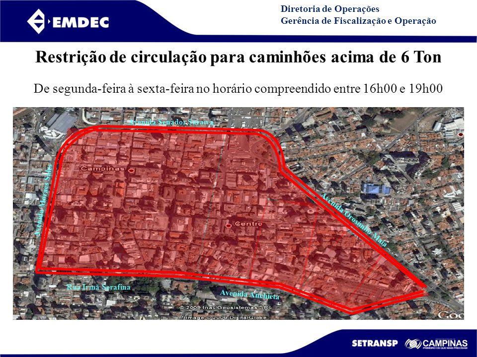 DGDDGD Diretoria de Operações Gerência de Fiscalização e Operação Avenida Senador Saraiva Avenida Orosimbo Maia Rua Irmã Serafina Avenida Anchieta Ave