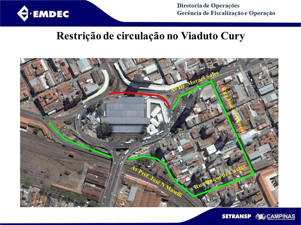DGDDGD Diretoria de Operações Gerência de Fiscalização e Operação Restrição de circulação no Viaduto Cury Av Dr Moraes Sales Rua José de Alencar Rua D