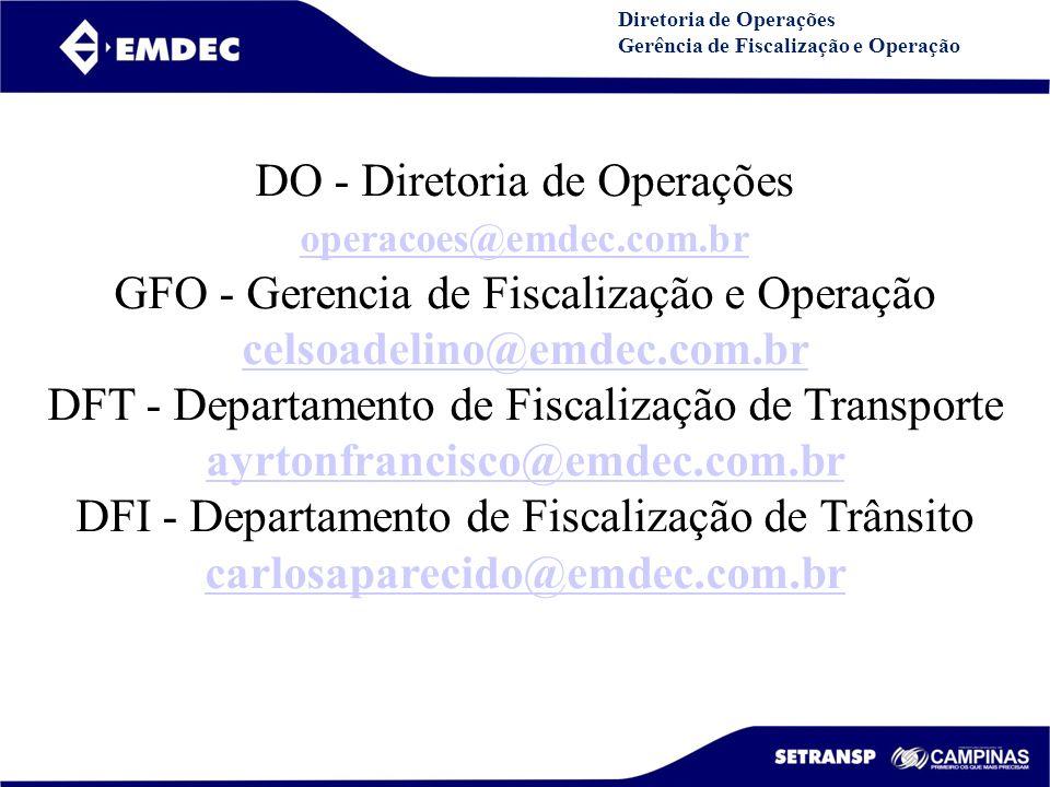 DGDDGD Diretoria de Operações Gerência de Fiscalização e Operação DO - Diretoria de Operações operacoes@emdec.com.br GFO - Gerencia de Fiscalização e