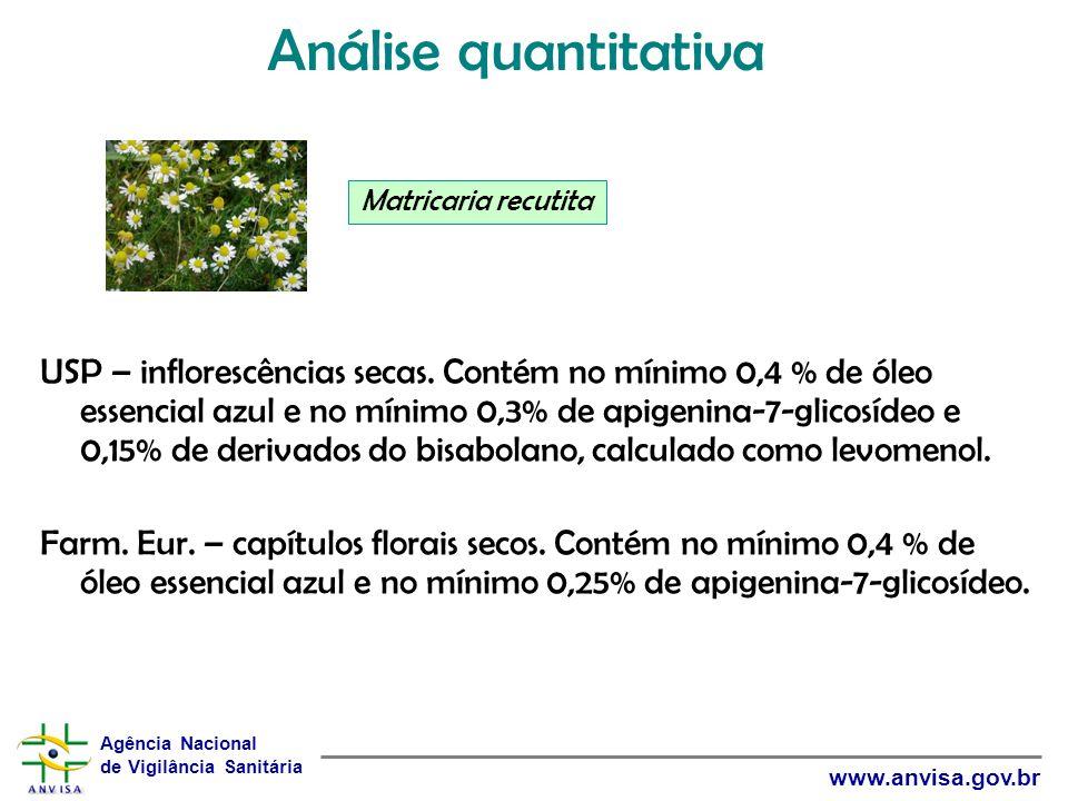 Agência Nacional de Vigilância Sanitária www.anvisa.gov.br USP – inflorescências secas. Contém no mínimo 0,4 % de óleo essencial azul e no mínimo 0,3%