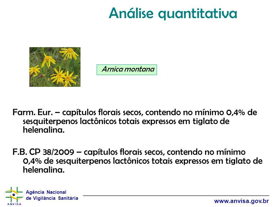 Agência Nacional de Vigilância Sanitária www.anvisa.gov.br Farm. Eur. – capítulos florais secos, contendo no mínimo 0,4% de sesquiterpenos lactônicos