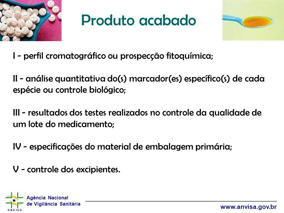 Agência Nacional de Vigilância Sanitária www.anvisa.gov.br Produto acabado I - perfil cromatográfico ou prospecção fitoquímica; II - análise quantitat