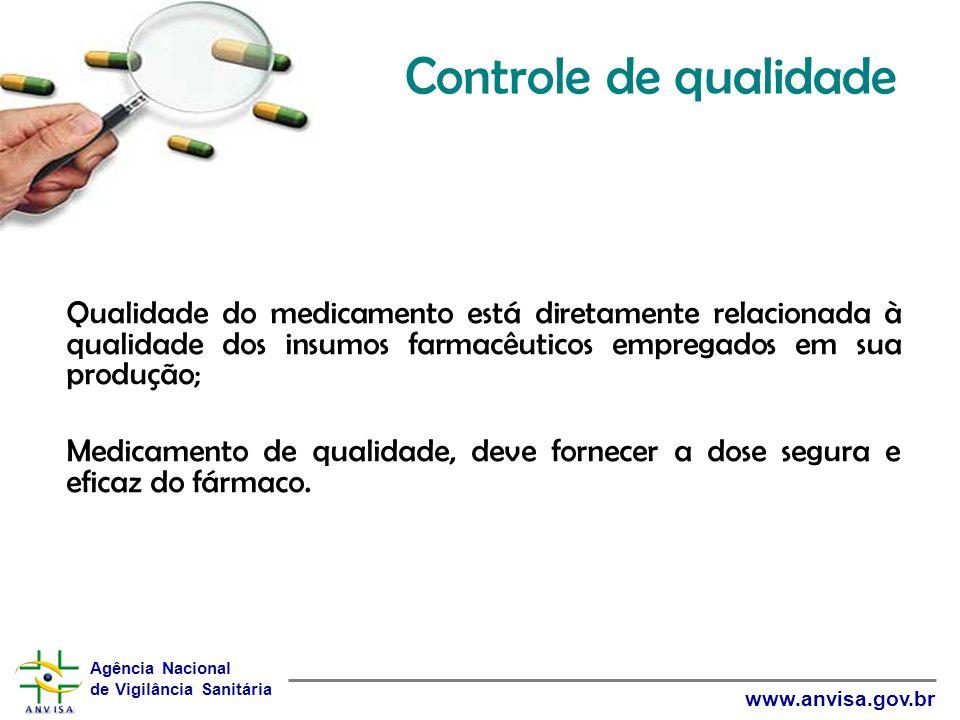 Agência Nacional de Vigilância Sanitária www.anvisa.gov.br Qualidade do medicamento está diretamente relacionada à qualidade dos insumos farmacêuticos