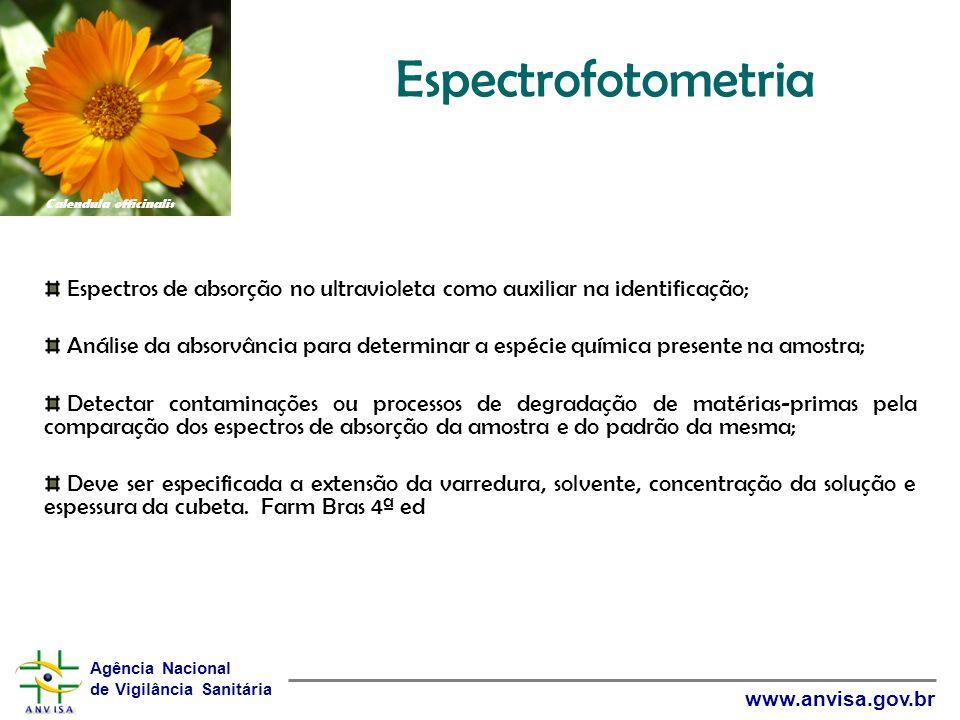 Agência Nacional de Vigilância Sanitária www.anvisa.gov.br Espectrofotometria Espectros de absorção no ultravioleta como auxiliar na identificação; An
