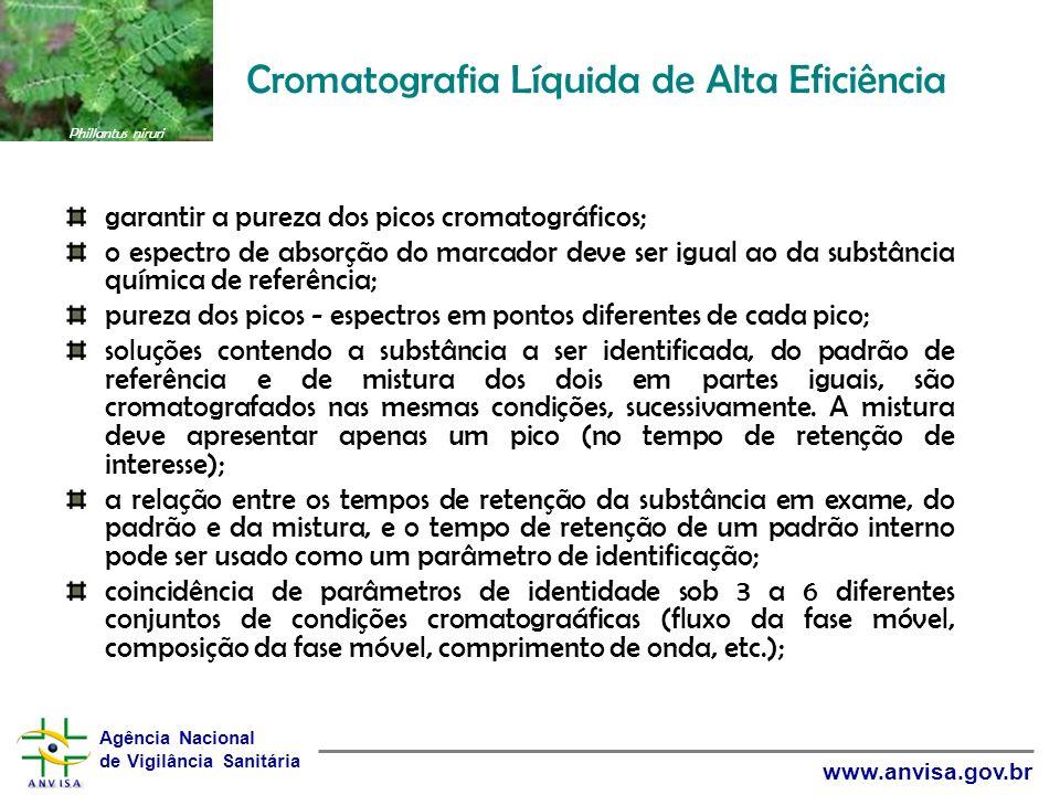 Agência Nacional de Vigilância Sanitária www.anvisa.gov.br Cromatografia Líquida de Alta Eficiência garantir a pureza dos picos cromatográficos; o esp