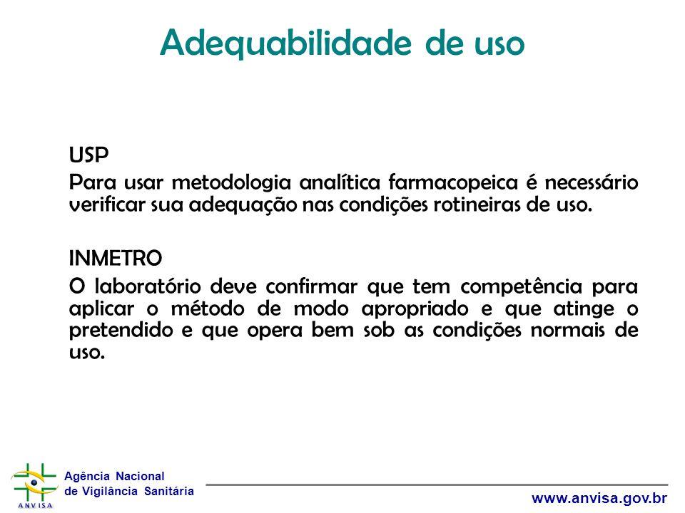 Agência Nacional de Vigilância Sanitária www.anvisa.gov.br Adequabilidade de uso USP Para usar metodologia analítica farmacopeica é necessário verific