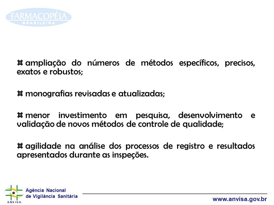 Agência Nacional de Vigilância Sanitária www.anvisa.gov.br ampliação do números de métodos específicos, precisos, exatos e robustos; monografias revis