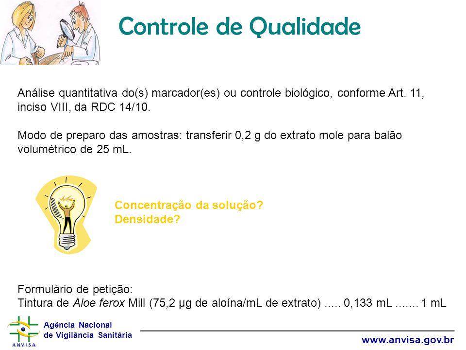 Agência Nacional de Vigilância Sanitária www.anvisa.gov.br Controle de Qualidade Análise quantitativa do(s) marcador(es) ou controle biológico, confor