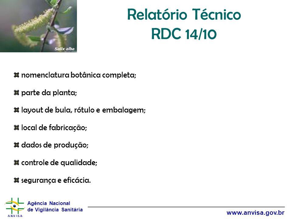 Agência Nacional de Vigilância Sanitária www.anvisa.gov.br Relatório Técnico RDC 14/10 nomenclatura botânica completa; parte da planta; layout de bula