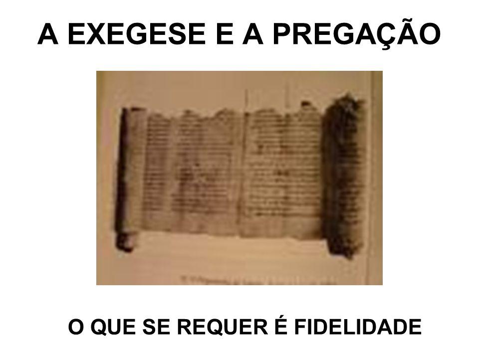 A EXEGESE E A PREGAÇÃO O QUE SE REQUER É FIDELIDADE