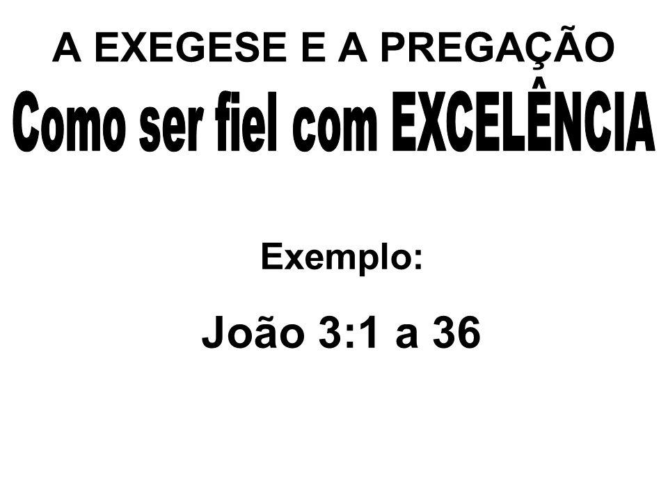 A EXEGESE E A PREGAÇÃO Exemplo: João 3:1 a 36