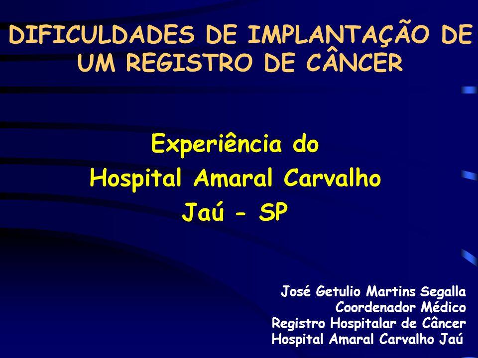 DIFICULDADES DE IMPLANTAÇÃO DE UM REGISTRO DE CÂNCER Experiência do Hospital Amaral Carvalho Jaú - SP José Getulio Martins Segalla Coordenador Médico