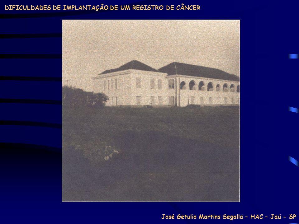 José Getulio Martins Segalla – HAC – Jaú - SP DIFICULDADES DE IMPLANTAÇÃO DE UM REGISTRO DE CÂNCER