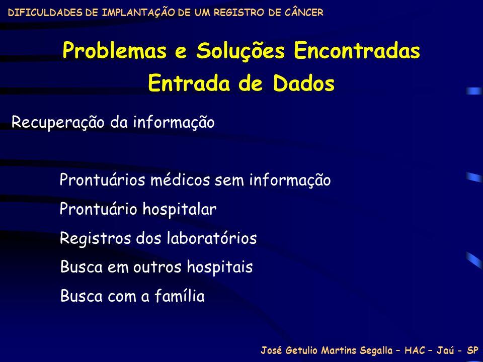 DIFICULDADES DE IMPLANTAÇÃO DE UM REGISTRO DE CÂNCER Problemas e Soluções Encontradas Recuperação da informação Prontuários médicos sem informação Pro