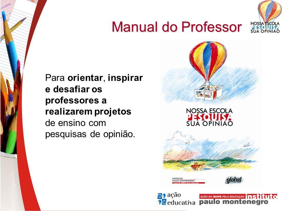 Manual do Professor Para orientar, inspirar e desafiar os professores a realizarem projetos de ensino com pesquisas de opinião.