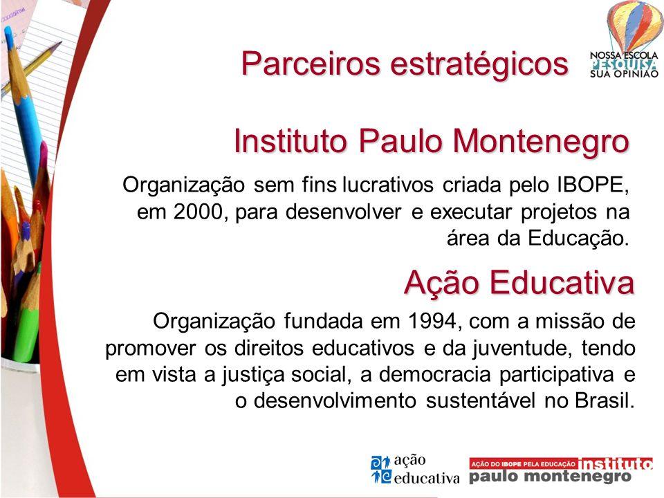 Parceiros estratégicos Organização sem fins lucrativos criada pelo IBOPE, em 2000, para desenvolver e executar projetos na área da Educação. Instituto
