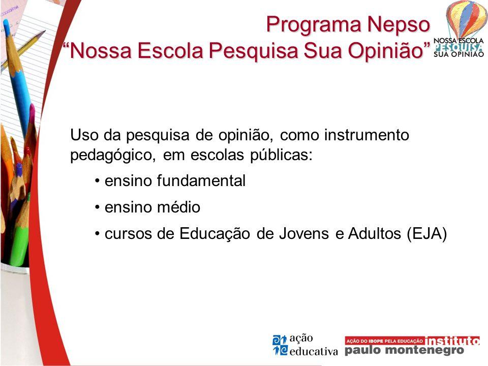 Programa Nepso Nossa Escola Pesquisa Sua Opinião Uso da pesquisa de opinião, como instrumento pedagógico, em escolas públicas: ensino fundamental ensi