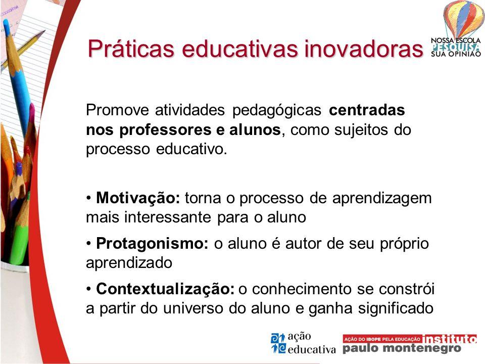 Práticas educativas inovadoras Promove atividades pedagógicas centradas nos professores e alunos, como sujeitos do processo educativo. Motivação: torn