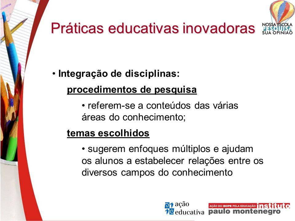 Práticas educativas inovadoras Integração de disciplinas: procedimentos de pesquisa referem-se a conteúdos das várias áreas do conhecimento; temas esc