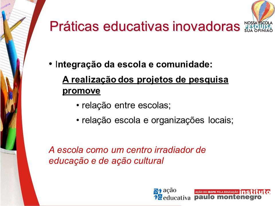 Práticas educativas inovadoras Integração da escola e comunidade: A realização dos projetos de pesquisa promove relação entre escolas; relação escola