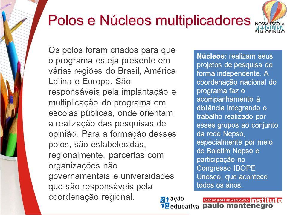 Polos e Núcleos multiplicadores Os polos foram criados para que o programa esteja presente em várias regiões do Brasil, América Latina e Europa. São r