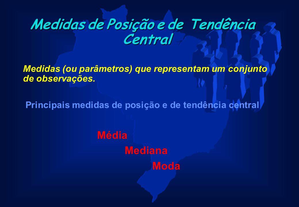 MedidasdePosiçãoede Tendência Central Medidas de Posição e de Tendência Central Medidas (ou parâmetros) que representam um conjunto de observações. Pr