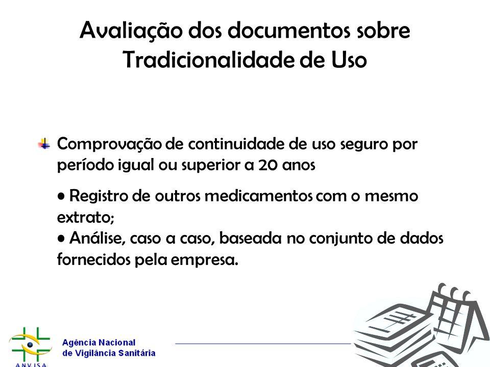 Avaliação dos documentos sobre Tradicionalidade de Uso Comprovação de continuidade de uso seguro por período igual ou superior a 20 anos Registro de o