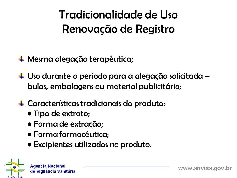 Tradicionalidade de Uso Renovação de Registro Mesma alegação terapêutica; Uso durante o período para a alegação solicitada – bulas, embalagens ou mate