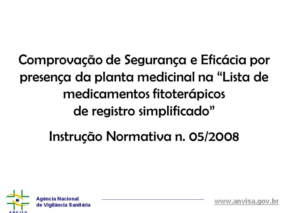 Comprovação de Segurança e Eficácia por presença da planta medicinal na Lista de medicamentos fitoterápicos de registro simplificado Instrução Normati
