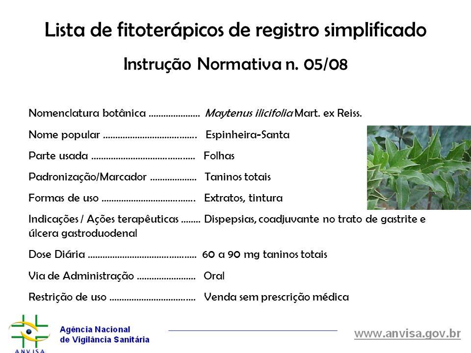 Lista de fitoterápicos de registro simplificado Instrução Normativa n. 05/08 Nomenclatura botânica..................... Maytenus ilicifolia Mart. ex R
