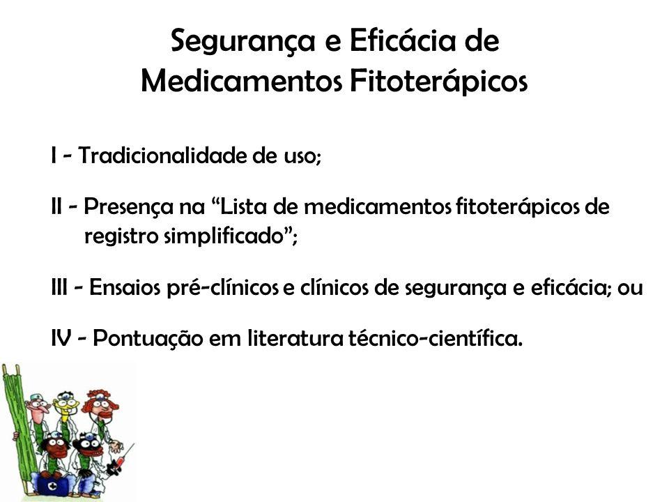Segurança e Eficácia de Medicamentos Fitoterápicos I - Tradicionalidade de uso; II - Presença na Lista de medicamentos fitoterápicos de registro simpl
